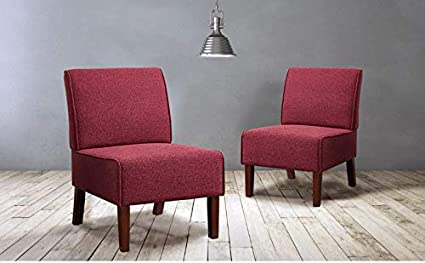 IDS Modern Side Chair for Living Room Bedroom- Accent Chair - Wood Legs Red Fabric