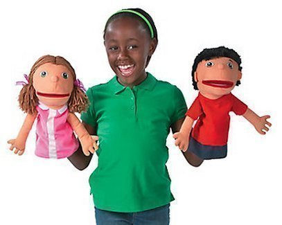 Plush Hand Puppets, Happy Kids, Set of 4 Puppets (14″)