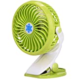 HP95(TM) Mini Desk Fan,Portable Handheld Clip on fan Powered by Rechargeable Battery or USB (No battery, Green)