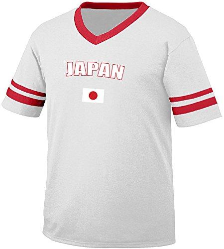 Japan Country Flag Men's Retro Soccer Ringer T-shirt, Amdesco, White/Red (Design Mens Ringer T-shirt)