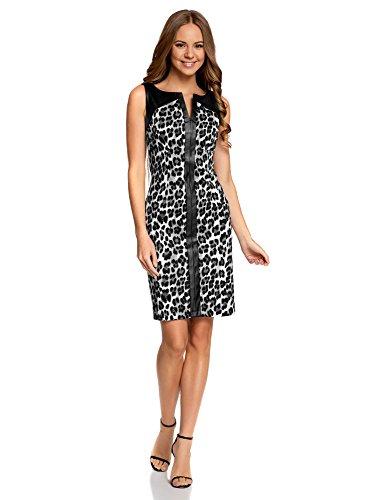 41daxaqfafL - oodji Collection Damen Enganliegendes Kleid mit Kunstleder-Verzierung