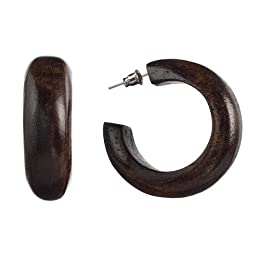 Xhilaration ITW EARRING BROWN WOOD HOOP