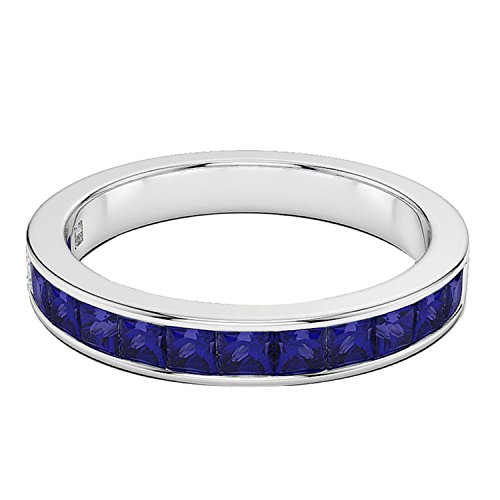 0.90 CT. 14K Gold Real Princess Cut Blue Sapphire Wedding Anniversary Half Eternity Band