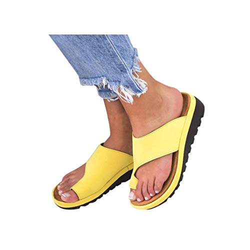 Women's Aditi Low Wedge Casual Flip Flops Wedges Open Toe Ankle Sandals Platforms Beach Shoes Roman Slippers ()