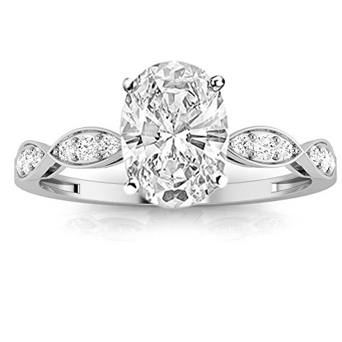0.52 Cttw Platinum Oval Cut Petite Curving Diamond Engagement Ring with a 0.37 Carat H-I Color SI2-I1 Clarity Center ()