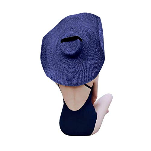 MEANIT Womens Sun Straw Hat Oversized Wide Brim Summer Hat Foldable Roll up Floppy Beach Hats Cap Packable for Travel (D)