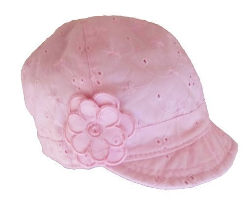 Girls Summer Hat Pink Brodeire Anglaise sizes 1-3 and 4-8 Years Baker Boy Style (4-8 Years)