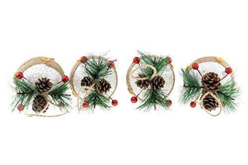 (Clever Creations Shatterproof Christmas Tree Onion Shaped Ornaments with Pinecones and Berries Green, Red, and White 3.5