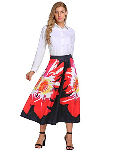 Silhouettes Silk Skirt (Zeagoo Women Floral Printed Pleated Flared Long Maxi Skirt)
