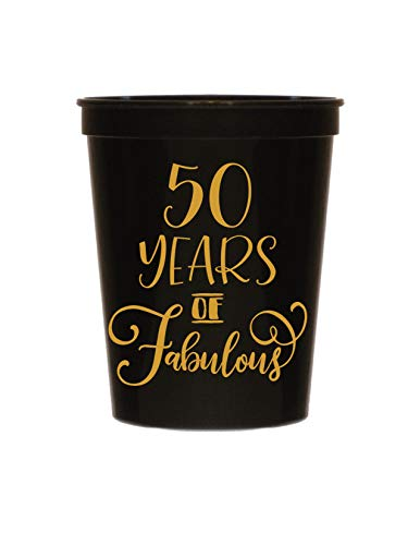 (50 Years of Fabulous Black Cups- Set of 10-50th Birthday Plastic Cups - 50th Birthday Party Stadium Cups - 50th Birthday Decorations Black and Gold )