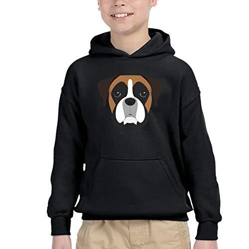 AIDEAR Boxer Dog Portrait Boys' Long Sleeve Hoodie Sweatshirt 42
