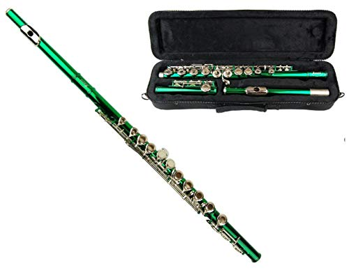 MERANO GREEN LACQUER PLATED FLUTE KEY OF C WITH CASE