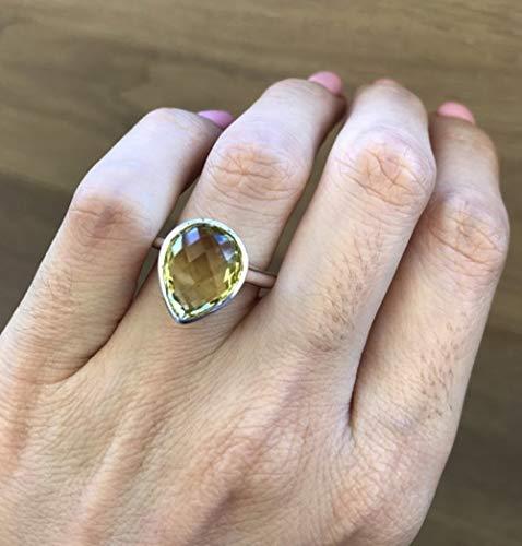 (Pear Shape Lemon Quartz Silver Solitaire Ring)