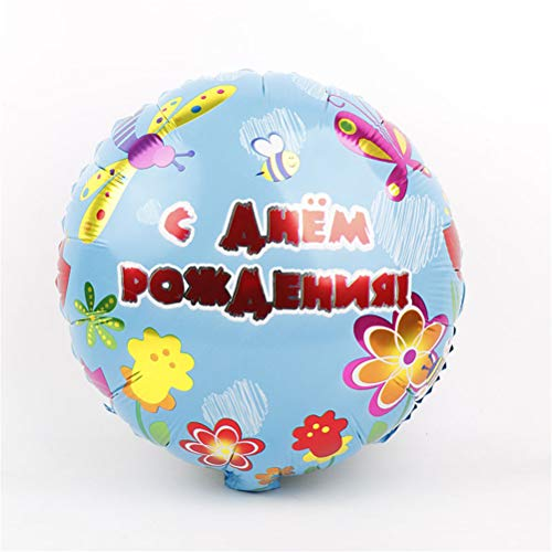 Ballons & Accessories - Pink Blue Russian Happy Birthday Foil Balloons Kids Party Decorations Baby Shower Event Toys Gift - Russian Butterfly Baby Tableware Ball Birthday Helium 20 Birthday Iacv