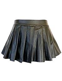 5209 - Plus Size PVC Faux Leather Pleated Sexy Mini Skirt Black