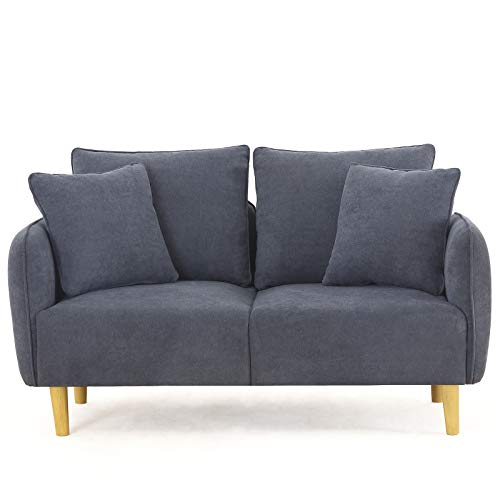 Unihome Fabric 2 Seat Sofa Love Seat Upholstered Couch Loveseat, Wooden Love Sofa for Small Space, Dark Bluish Grey
