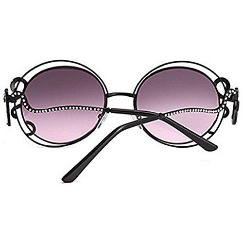 Huicai Negro Gafas Rhinestone Gran Personalidad Metal de sol Piernas Rosa Sra de sol curvadas ronda Gafas 1T41AZ
