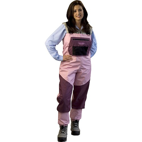 Caddis Women's Attractive 2 Tone Pink and Burgandy Deluxe Breathable Stocking Foot Wader, Medium Queen