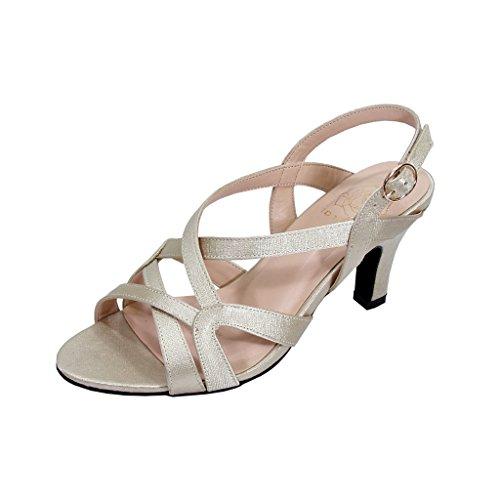 Floral Charlotte Women Wide Width Criss-Cross Strappy Opentoe Dressy Slingback Heeled Sandals Champagne 10