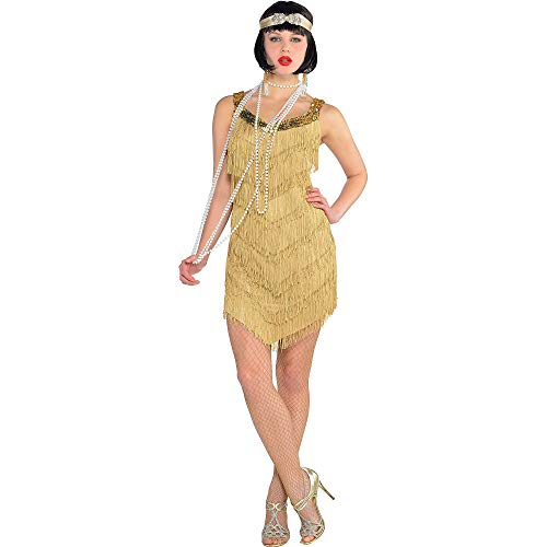 (AMSCAN Roaring '20s Champagne Flapper Dress Halloween Costume for Women, One Size )