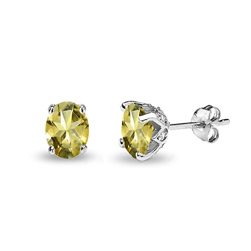 Sterling Silver Citrine and White Topaz Oval Crown Stud Earrings