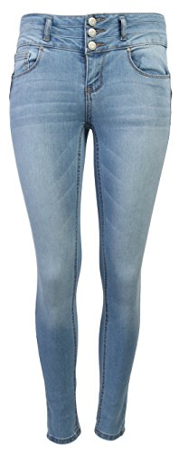Wax Women's Juniors Body Flattering Mid Rise Skinny Jeans, Light, Size - 7 Juniors Size