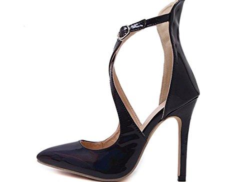YCMDM DONNE Sandali con tacco primavera-estate 2017 l'Europa e gli Stati Uniti popolare classico modelle scarpe a punta , black , 37