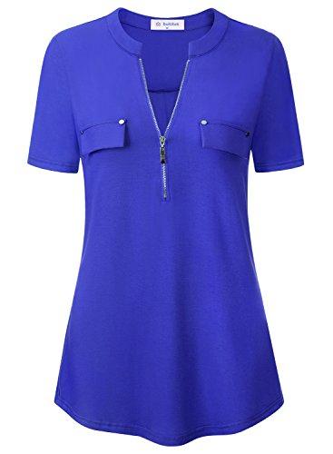 Bulotus Blue Blouses for Women Ladies Short Sleeve Notch Neck Zip Front Summer Party Blouse Tops Blue M by Bulotus