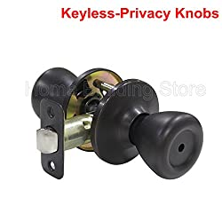 Probrico Interior Privacy Keyless Door Knobs Door Lock Handle Handleset Lockset Without Key Doorknobs Oil Rubbed Bronze for Bedroom and Bathroom