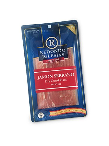Jamon Serrano Sliced 12 x 3 Oz - 15 months aged dry cured ham by Redondo Iglesias