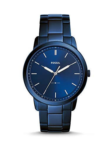 Fossil Men's The The Minimalist 3H Quartz Stainless-Steel-Plated Strap, Blue, 22 Casual Watch (Model: FS5461)