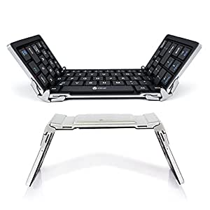 iClever Bluetooth Keyboard, Foldable Wireless Keyboard with Portable Pocket Size, Aluminum Alloy Housing, Carrying Pouch, for iPad, iPhone, and More Tablets, Laptops and Smartphones