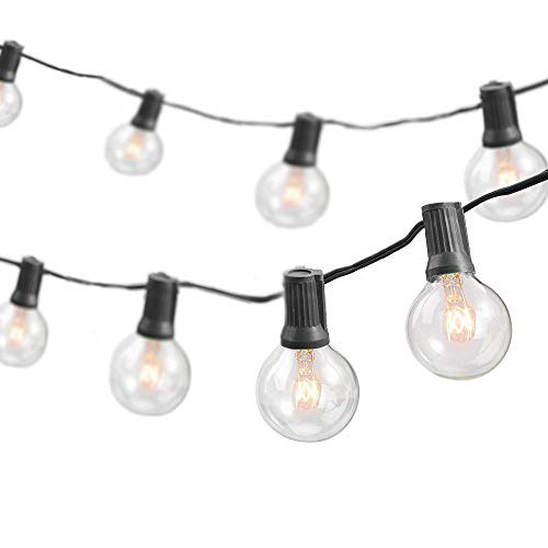 Newhouse Lighting PSTRINGINC Party Globe String Light, Weatherproof 25 Sockets, 25 ft, 25 Free Bulb With 5 Extra Bulbs, Black (Ideas String Lighting)