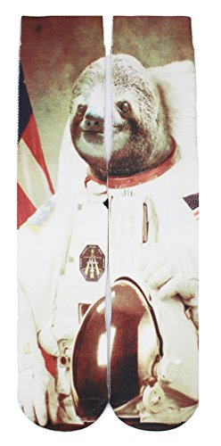 Danial Crazy Funny Colorful 3d Galaxy Animal Sloth Patterned Basketball Sports Novelty Crew Socks for Men