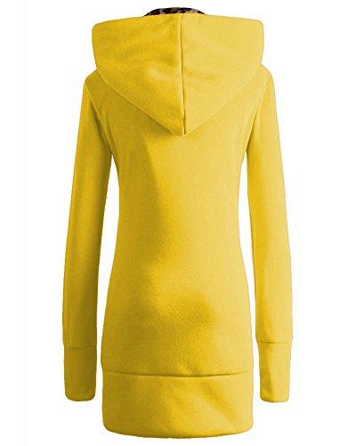 con Jacket Invierno Amarillo Capucha Sudadera Mujer Abrigo Chaqueta Parka wzaqR4B