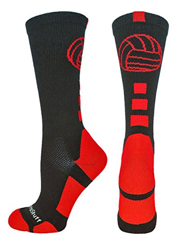 - MadSportsStuff Volleyball Logo Crew Socks (Black/Scarlet, Medium)