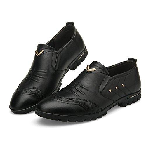 GRRONG Zapatos De Cuero De Los Hombres De Cuero Genuino Negocios Ocio Negro Marrón Black