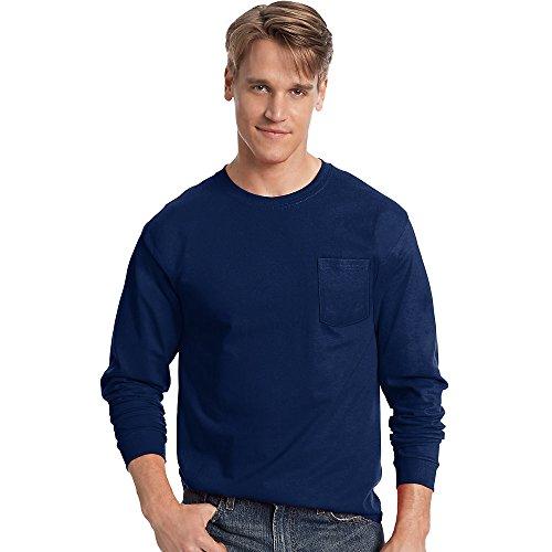 - Hanes Men's Tagless Long-Sleeve T-Shirt With Pocket_Navy_XL