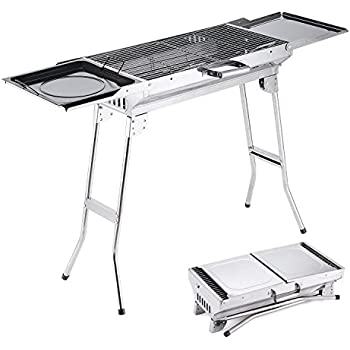 Camp Solutions BBQ Grill, Stainless Steel Charcoal Grill, Foldable and Portable Outdoor Grill, A Perfect Gift for Barbecue Lovers