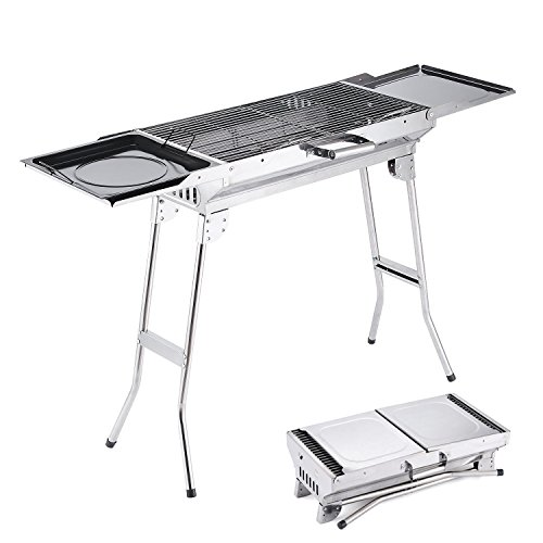 Camp Solutions BBQ Grill, Stainless Steel Charcoal Grill, Foldable and Portable Outdoor Grill, A Perfect Gift for Barbecue - Portable Charcoal Tailgate Grill