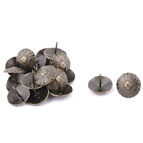 DealMux Furniture Vintage Flower Print Round Pin Decorative Domed Nail Bronze Tone 20pcs (Domed Flower)