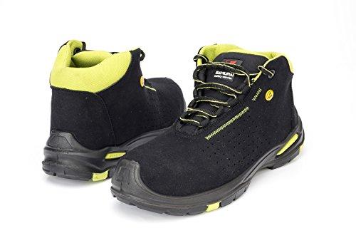 Samurai 1035248003paio di scarpe alte Topaz S1P SRC ESD, Nero/Verde, 41