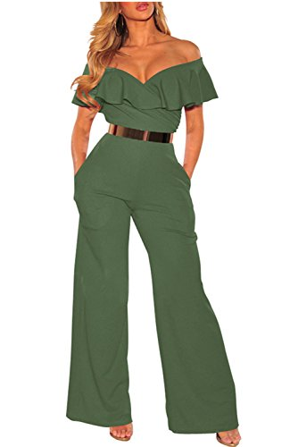 Pants Suit - Women Ruffle Off Shoulder Solid Jumpsuits Wide Leg Long Romper Pants Without Belt