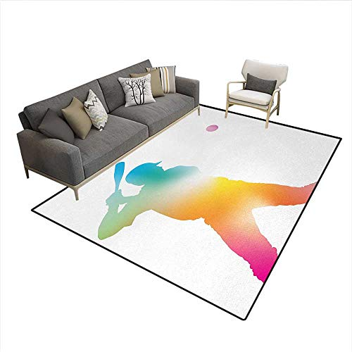 Carpet,Colorful Reflection of Baseball Player Batter Softball Hitter Swinging Arms Print,Non Slip Rug Pad,MulticolorSize:6'6