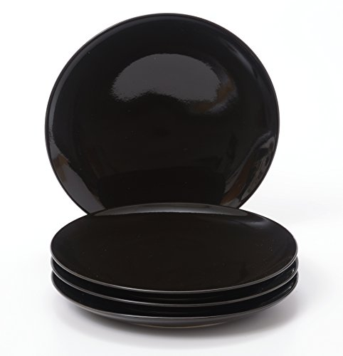 - O-Ware Black Stoneware 8 Inch Salad Luncheon Plate, Set of 4