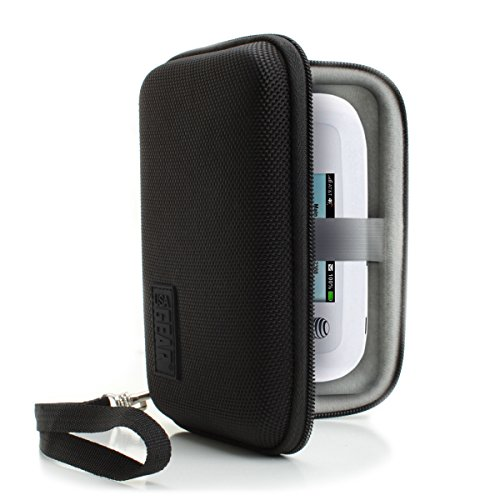 USA Gear Portable WiFi Hotspot Carrying Case with Wrist Strap - Compatible with 4G LTE Wi-Fi Mobile Hotspots from Verizon, Sprint, T-Mobile, Skyroam Solis, GlocalMe, Netgear, Huawei and More - Black
