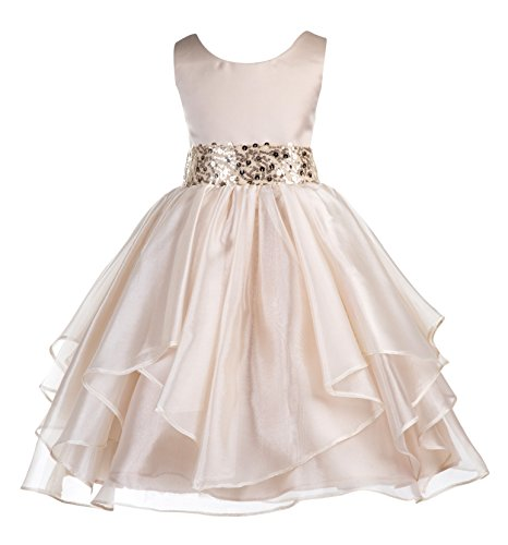 ekidsbridal Asymmetric Ruffled Organza Sequin Flower Girl Dress Toddler Girl Dresses 012S 8 -