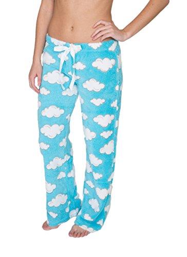 (Sleep & Co. Womens Super Soft and Cute Fleece Pajama Pant Aqua Clouds Medium)