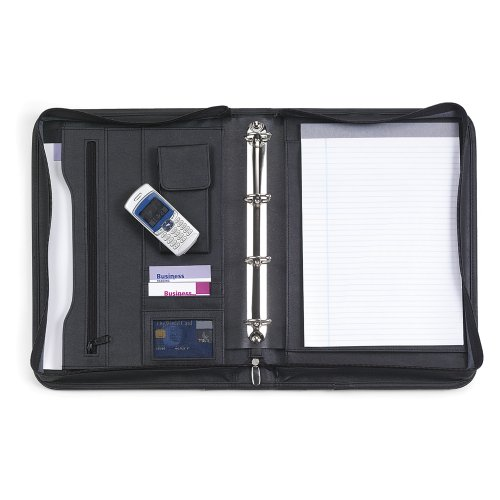 Amazon.com : New Black Leather A4 Zipped Ring Binder Conference Folder for Meetings, Business & Work : Office Products