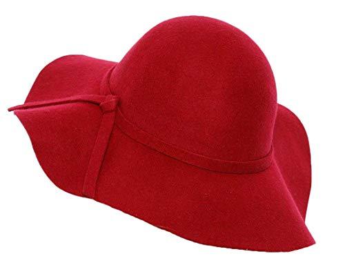 Lovful Women 100% Wool Wide Brim Cloche Fedora Floppy hat Cap,Red,One Size